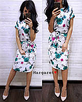 Принтованное платье под пояс длиной миди 9031777, фото 1