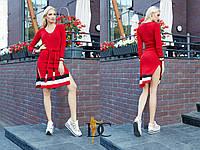Хлопковое платье с разрезами по бокам и с поясом 31031780