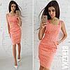 Платье футляр из хлопка в принт горошек 66031784