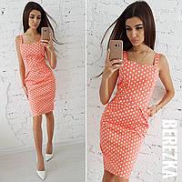 Платье футляр из хлопка в принт горошек 66031784, фото 1