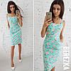 Льняное летнее принтованное платье на бретельках 66031785