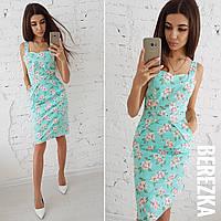 Льняное летнее принтованное платье на бретельках 66031785, фото 1