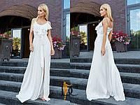 Шелковое длинное платье с оборками и разрезом 31031781, фото 1