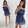 Хлопковое платье с открытыми плечами и рисунком 66031783