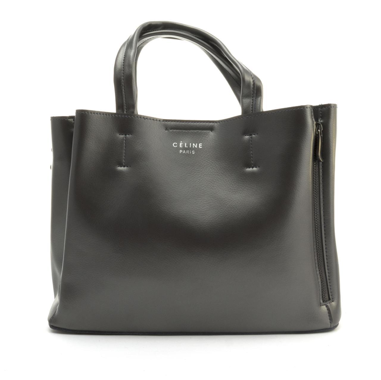 Суперстильная кожана прочная женская сумка среднего размера CELINE art. 0017A темно серая