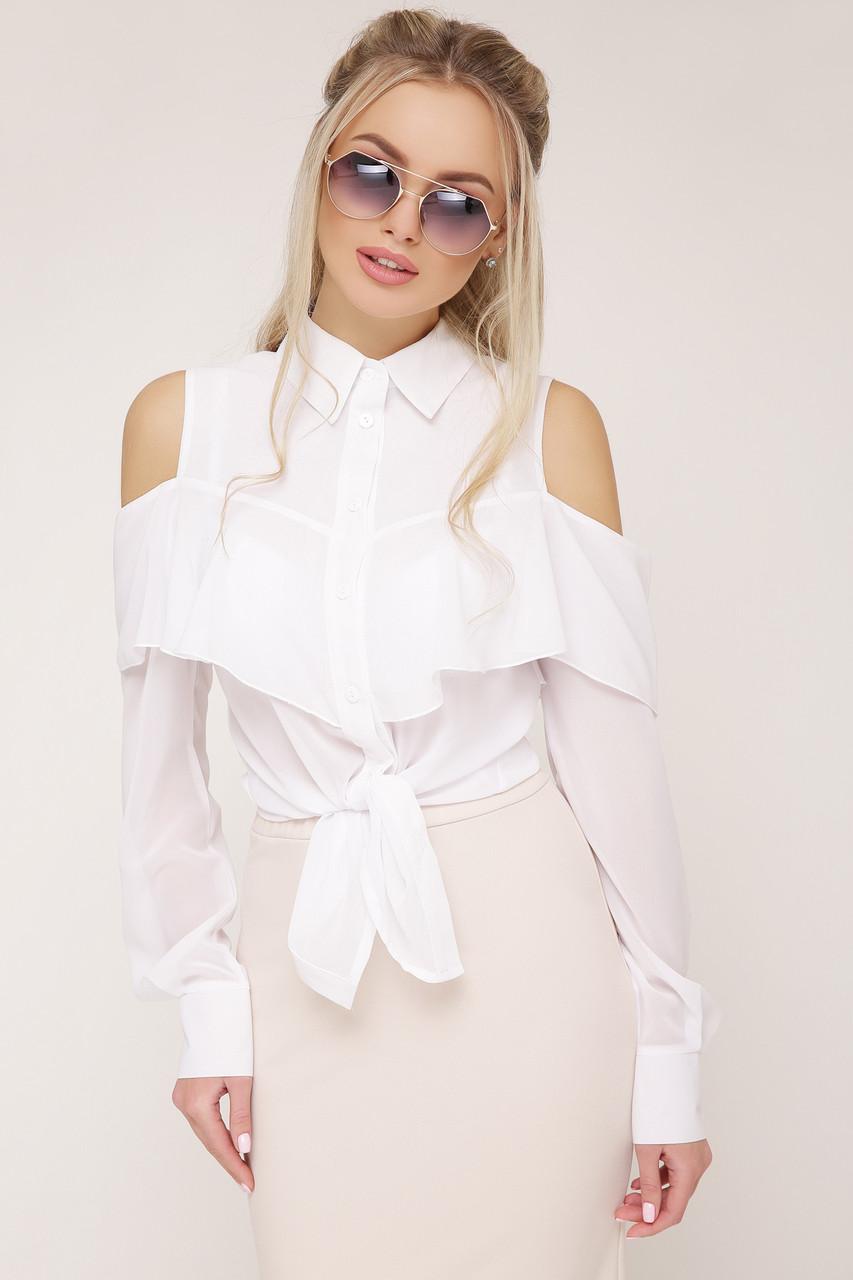 ЖЕНСКАЯ белая шифоновая блуза в деловом стиле  Джанина д/р