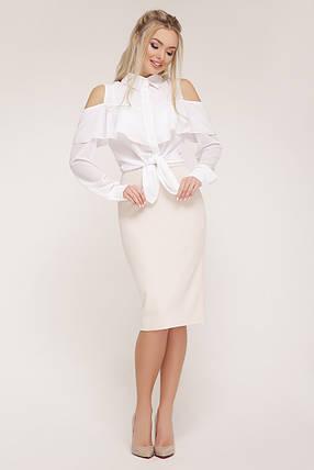 ЖЕНСКАЯ белая шифоновая блуза в деловом стиле  Джанина д/р, фото 2