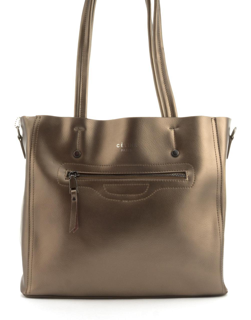 Суперстильная вместительная кожана прочная женская сумка CELINE art. 8869 бронзовая