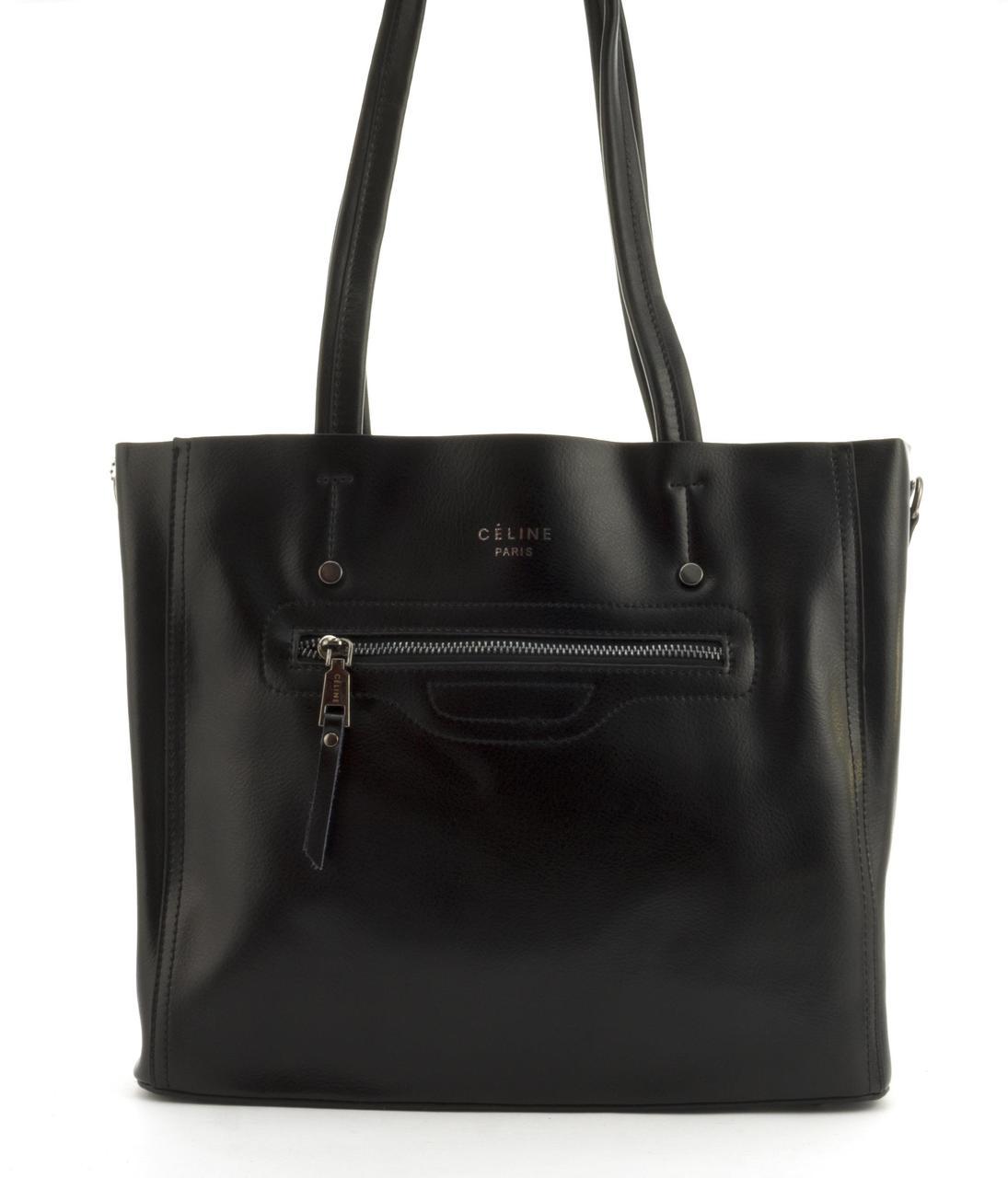 Суперстильная вместительная кожана прочная женская сумка CELINE art. 8869 черная