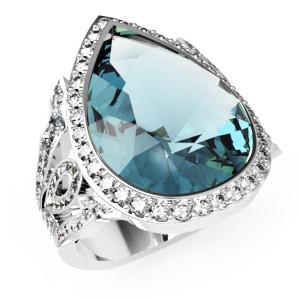 Перстень  женскийсеребряный Капля Os 7238