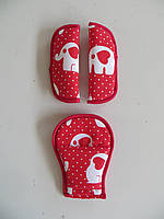 Накладки на ремни безопасности слоники на красном