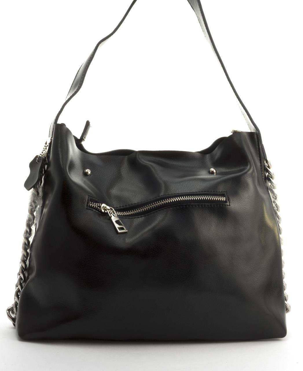 Суперстильная вместительная кожана прочная женская сумка CELINE art. 10015 черная