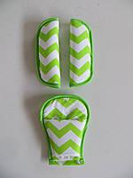 Накладки на ремни безопасности зигзаг зеленый