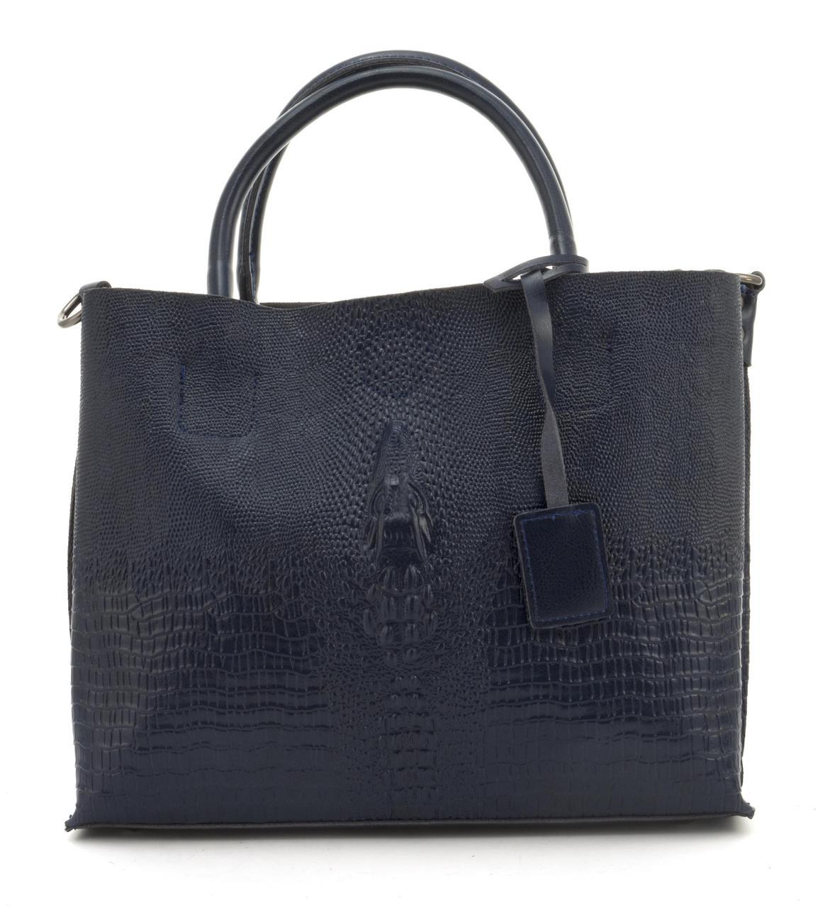 Оригинальная вместительная кожана прочная женская сумка с тиснением под рептилию CELINE art. 205 синяя