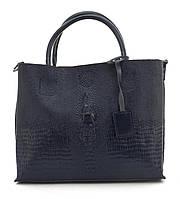 Оригинальная вместительная кожана прочная женская сумка с тиснением под рептилию CELINE art. 205 синяя, фото 1
