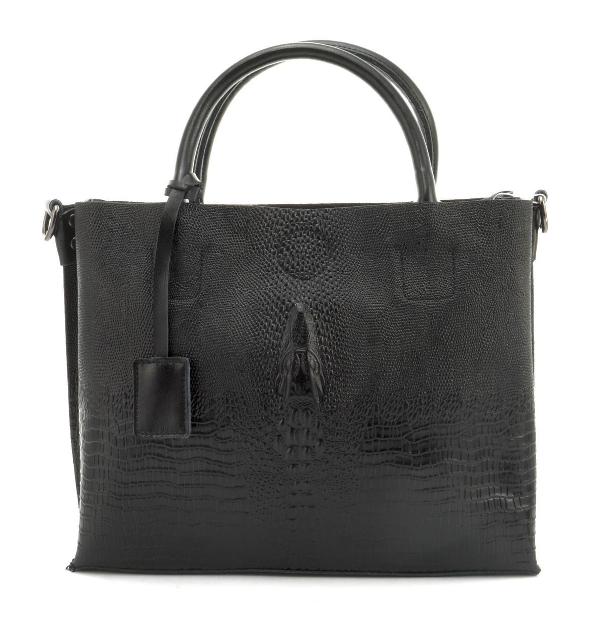 Оригинальная вместительная кожана прочная женская сумка с тиснением под рептилию CELINE art. 205 черная