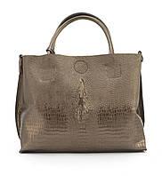 1e68c19db60e Оригинальная вместительная кожана прочная женская сумка с тиснением под  рептилию CELINE art. 205 бронзовая