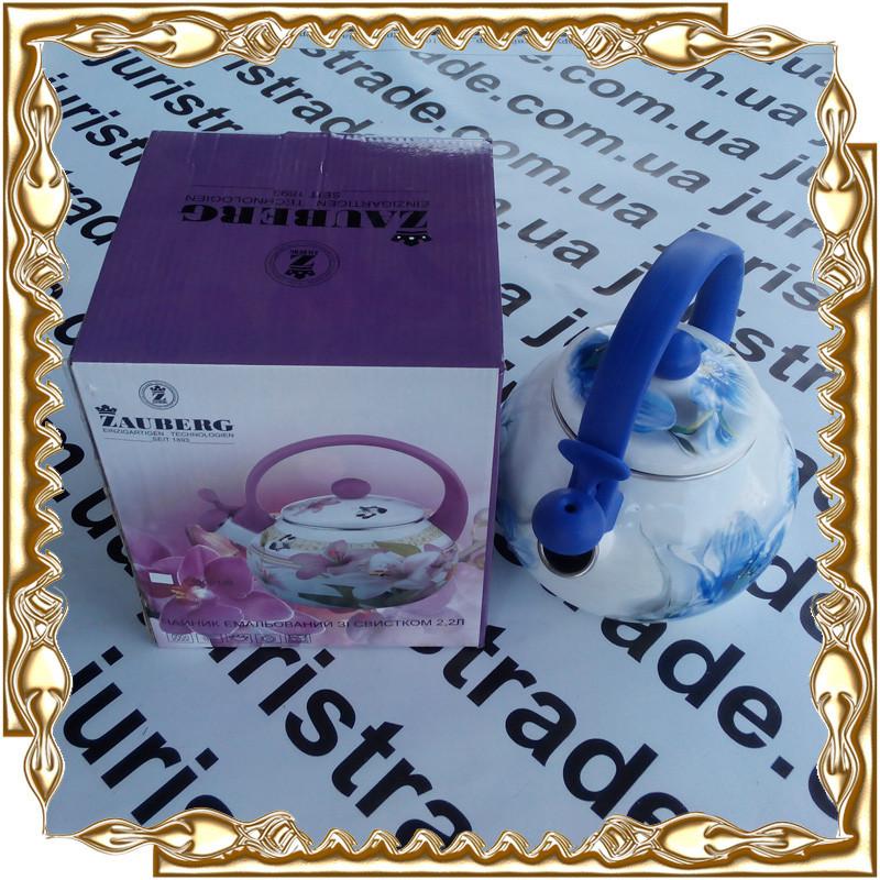 Чайник 2,2 л. Орхидея свисток/индукция эмаль Interos 09С0038