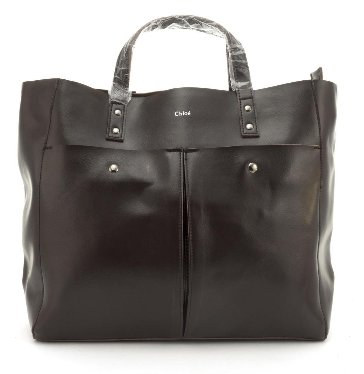Вместительная стильная прочная кожаная качественная женская сумка GALANTY art. 687 Турция коричневая