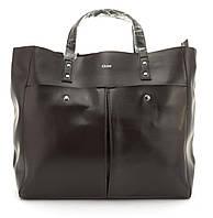 Вместительная стильная прочная кожаная качественная женская сумка GALANTY art. 687 Турция коричневая, фото 1