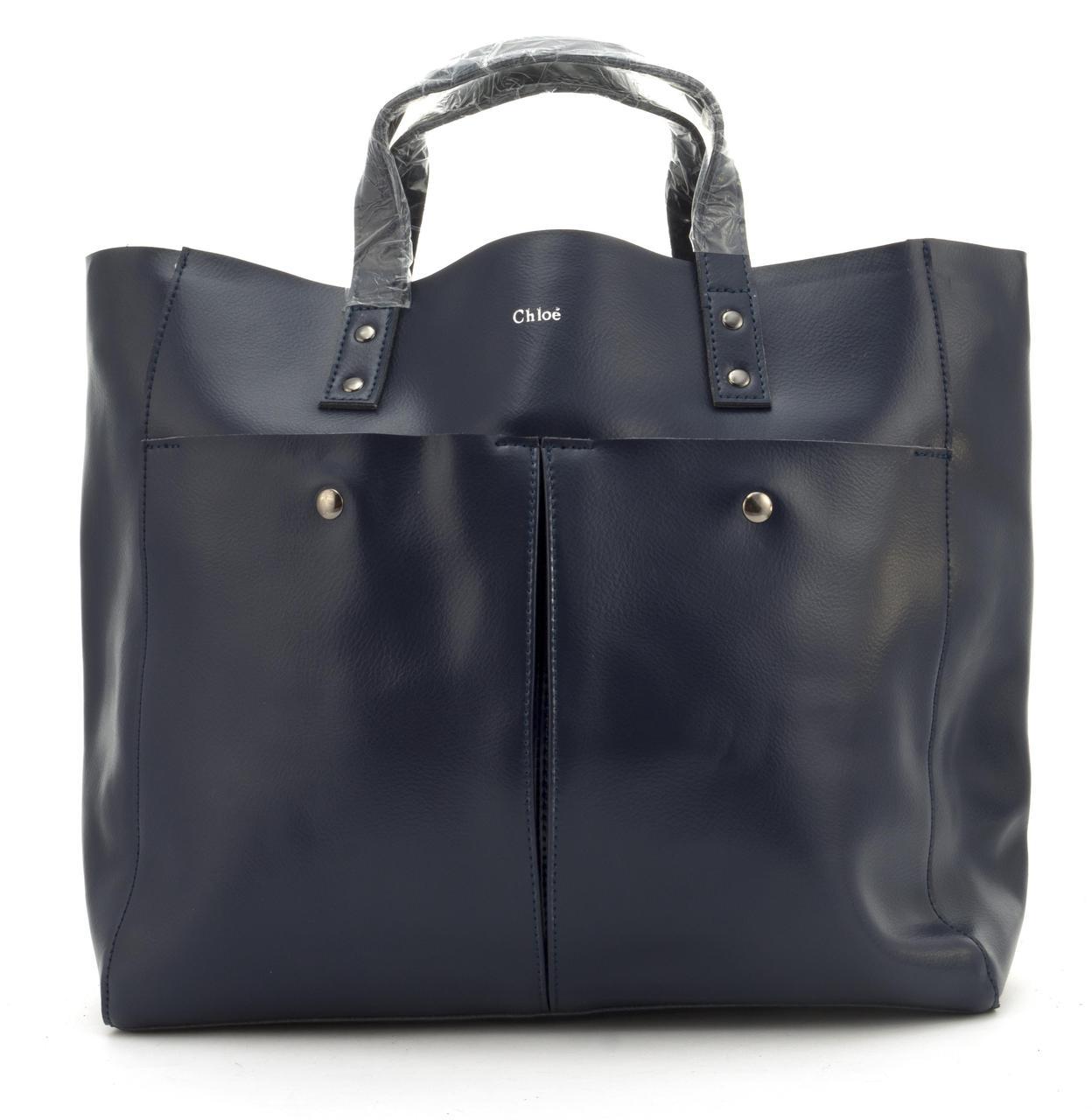 Вместительная стильная прочная кожаная качественная женская сумка GALANTY art. 687 Турция синяя