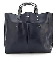 Вместительная стильная прочная кожаная качественная женская сумка GALANTY art. 687 Турция синяя, фото 1