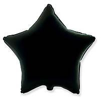 """Фольгований куля """"Зірка"""" чорна 45 см, Flexmetal Іспанія"""