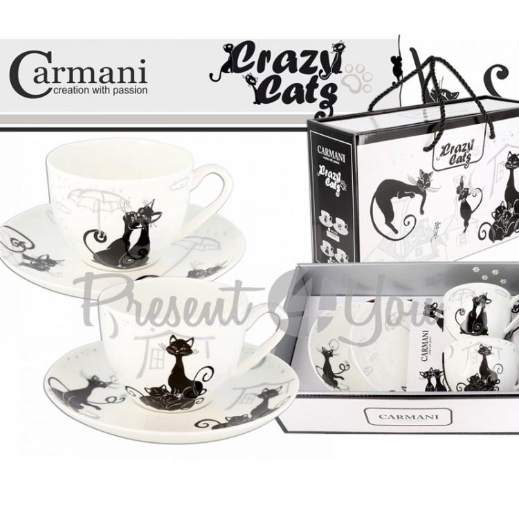 Подарочный набор 2 чашки + 2 блюдца «Crazy cats», 250мл, d-16 см (017-3102)