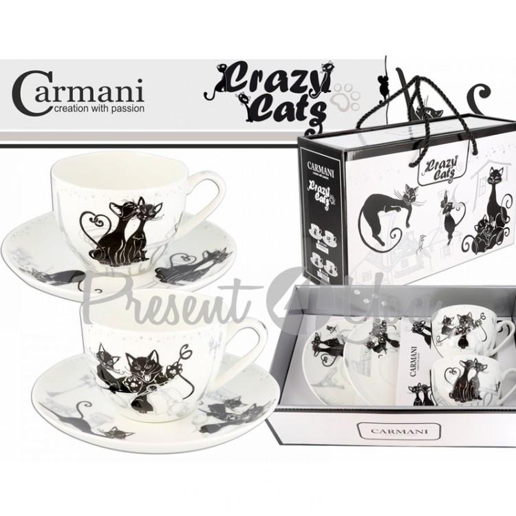 Подарочный набор 2 чашки + 2 блюдца «Crazy cats», 250мл, d-16 см (017-3101)