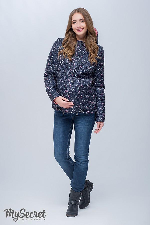 5c5f9875e421 Демисезонная куртка для беременных FLOYD, темно-синий с принтом цветы +  коралловый