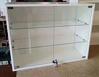 Полка витрина навесная настенная со стеклом V261