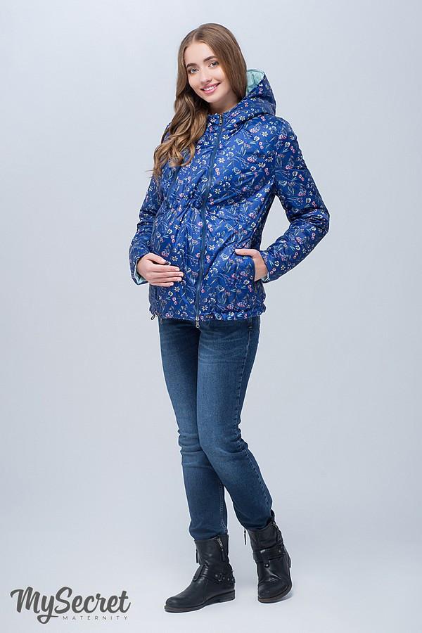 Демисезонная куртка для беременных FLOYD, синяя с принтом цветы + пыльная  мята. a848abe56c6