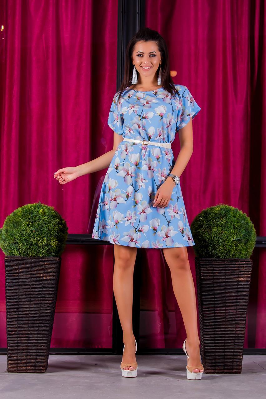 Платье 412  с ремнем голубая орхидея размер 42-44