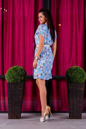 Платье 412  с ремнем голубая орхидея размер 42-44, фото 2