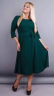Кора. Элегантное платье плюс сайз. Изумруд. 56