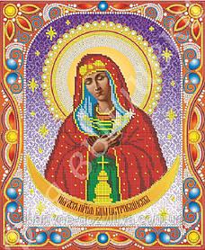 """Схема для вышивки бисером икона """"Богородица Остробрамская"""" (комплектация жемчугом и камнями)"""
