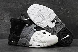 Чоловічі високі кросівки Nike Air More Uptempo Grey Black White (Найк Аптемпо шкіряні чорно-сірі)