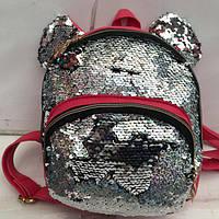 Женский рюкзак розовый, с пайетками и ушками Микки маус, фото 1