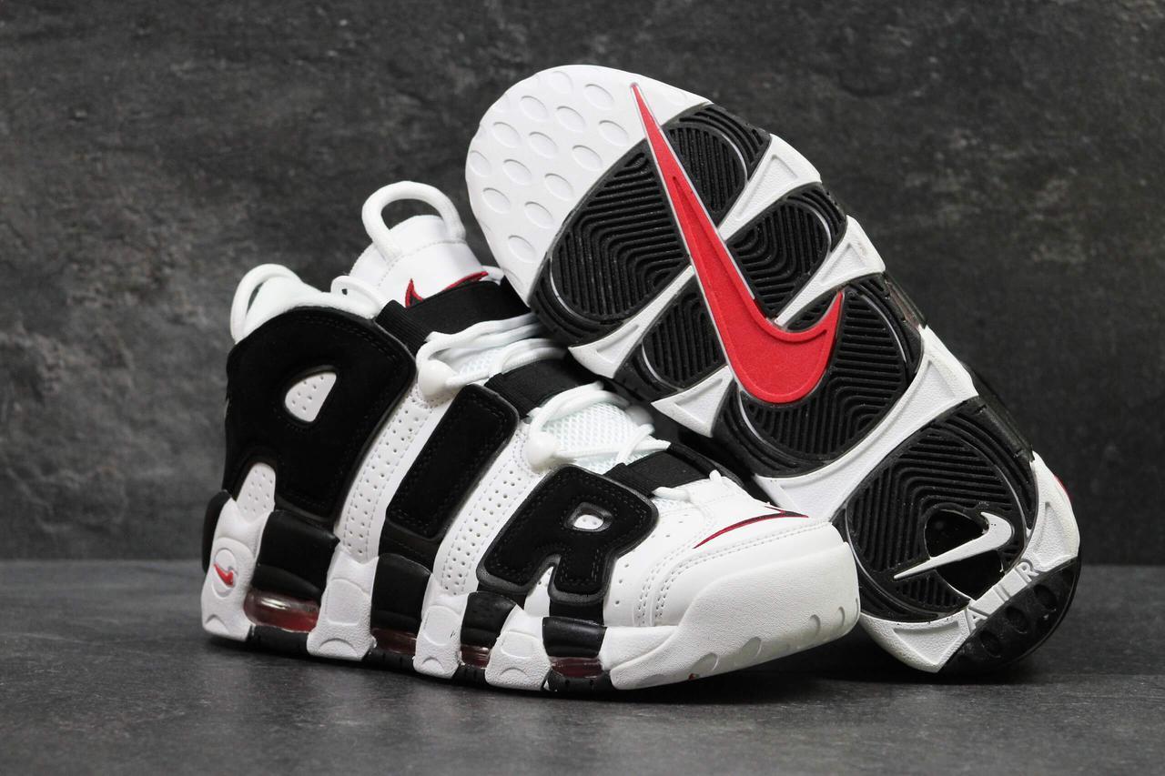 Мужские кожаные высокие кроссовки Nike Air More Uptempo черно-белые