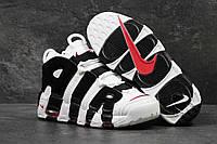 Мужские кожаные высокие кроссовки Nike Air More Uptempo черно-белые, фото 1