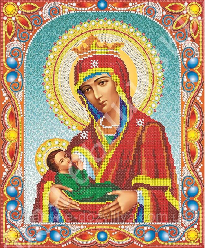 """Схема для вышивки бисером икона """"Богородица Млекопитательница"""" (комплектация жемчугом и камнями)"""