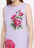 Платье женское из льна летнее с цветочным принтом (сиреневый), фото 3