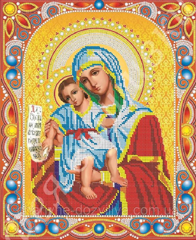 """Схема для вышивки бисером икона """"Богородица Достойно Есть"""" (комплектация жемчугом и камнями)"""