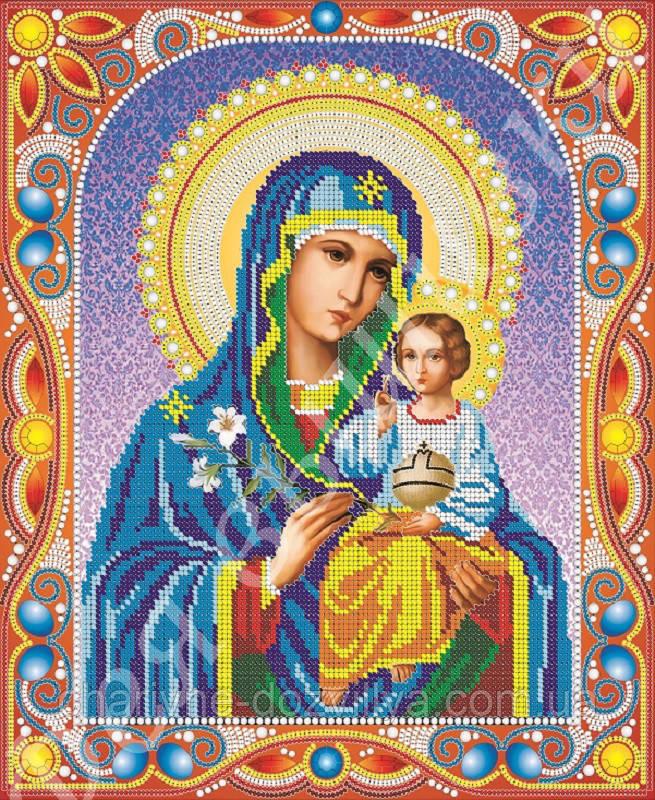 """Схема для вышивки бисером икона """"Богородица Неувядаемый Цвет"""" (комплектация жемчугом и камнями)"""