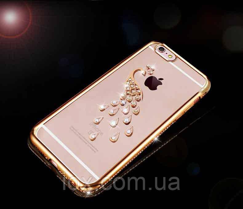 Чехол-накладка Павлин со стразами и золотистым ободком и  для Apple Iphone 7 Plus / 8 Plus