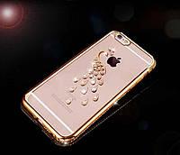 Чехол-накладка Павлин со стразами и золотистым ободком и  для Apple Iphone 7 Plus / 8 Plus, фото 1