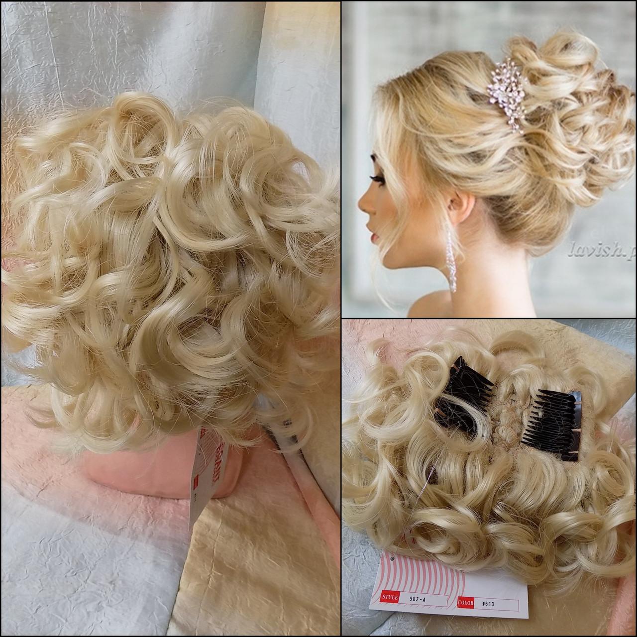 Шиньон-накладка на гребешках удлиненная блонд 902А-613