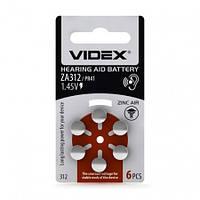 Videx батарейка воздушно цинковая Videx ZA312 (PR41) BLISTER 6 6шт/уп, фото 1