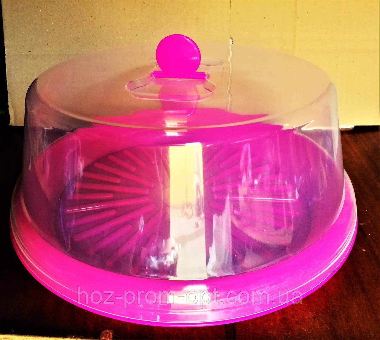 Тортовница с крышкой d- 310мм, пластик, цвета в ассортименте.