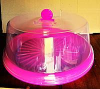 Тортовница с крышкой d- 310мм, пластик, цвета в ассортименте., фото 1